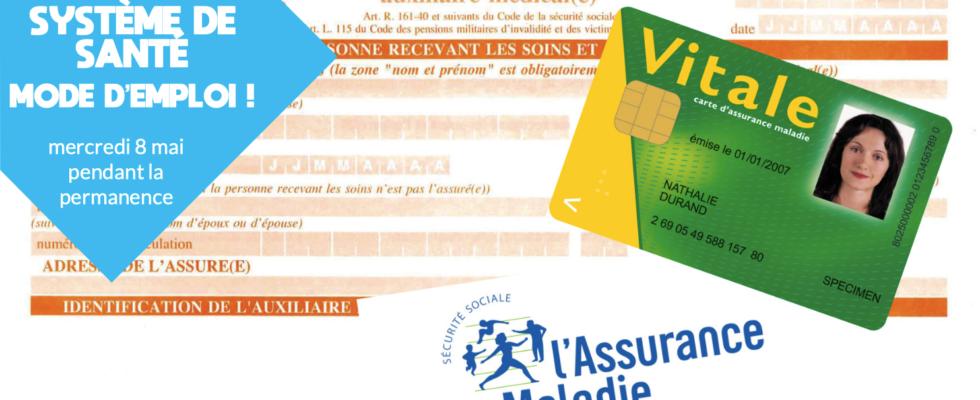 Feuille de soins, logo de l'Assurance Maladie, spécimen de carte vitale