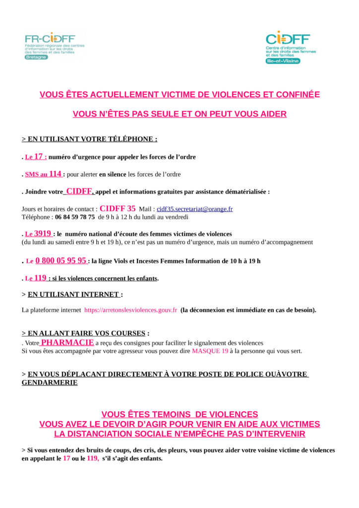 Affiche CIDFF 35 CVID-19