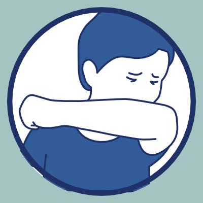 Geste barrière de la toux dans son coude