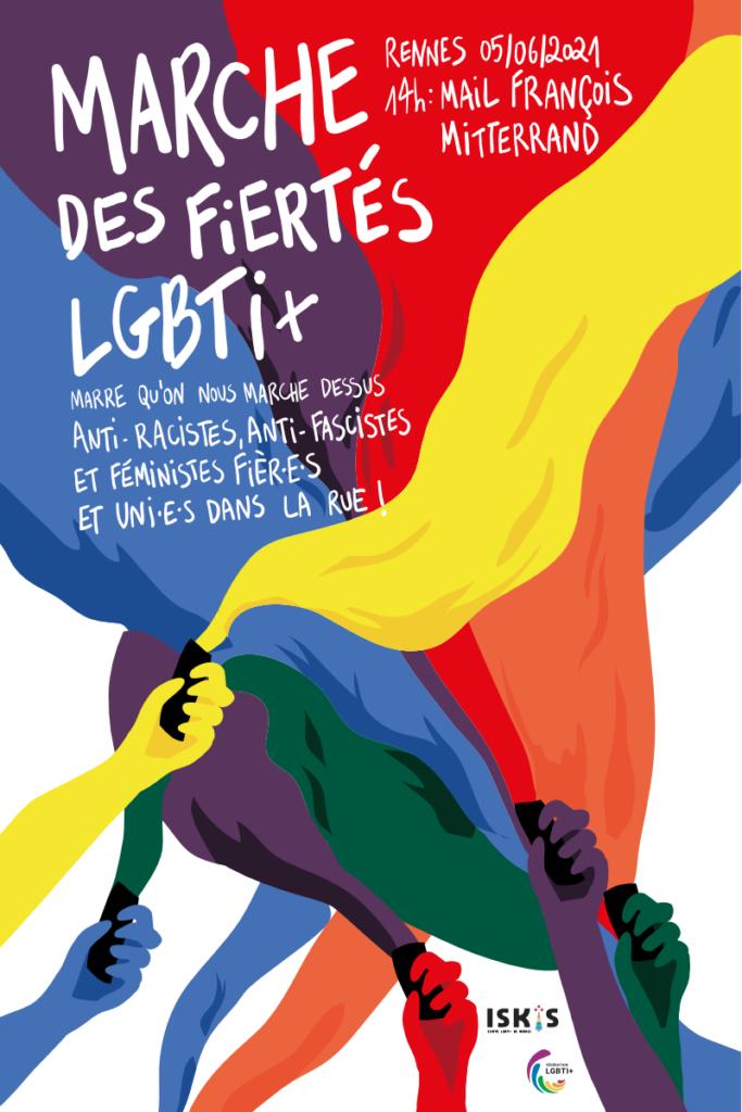Affiche de la Marche des Fiertés LGBTI+ 2021 de Rennes